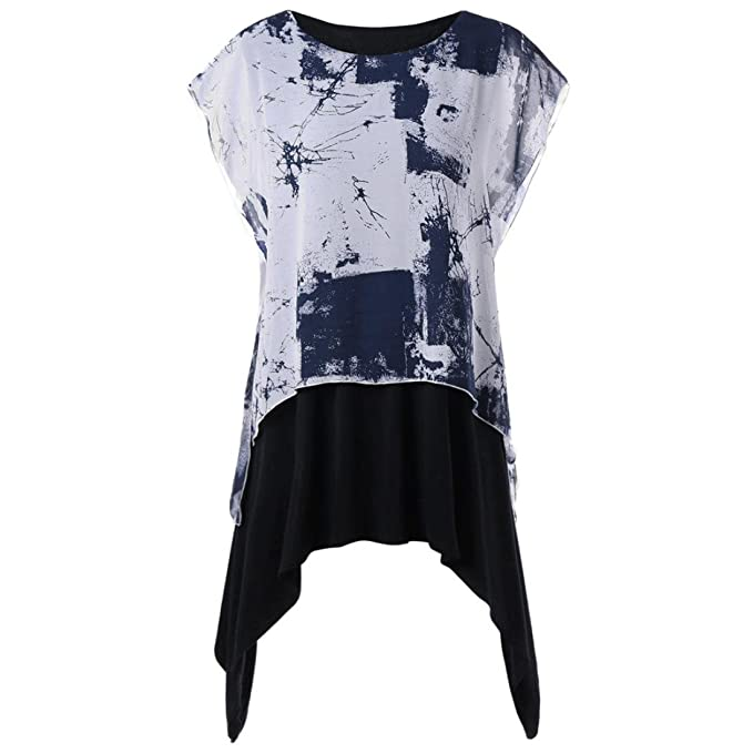 4ead702f87ba0 YJYDADA Women Spring Plus Size Graphic Layered Batwing Sleeve T-Shirt  Blouse Tops (L2