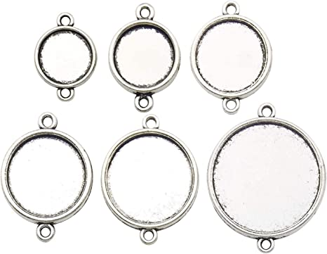 3 silver Tone double sided Cabochon setting frames round pendants 30 mm pictures