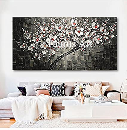 Amazon Com Hand Painted Contemporary Tree Black And White Artwork