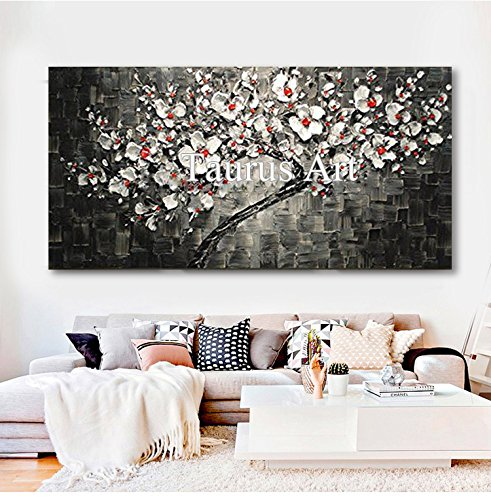 - Hand Painted Contemporary Tree Black and White Artwork Paintings Flowers Cherry Blossom Palette Knife Thick Oil Painting Canvas Wall Art Pictures for Living Room Wall Decor Art Work Framed 24