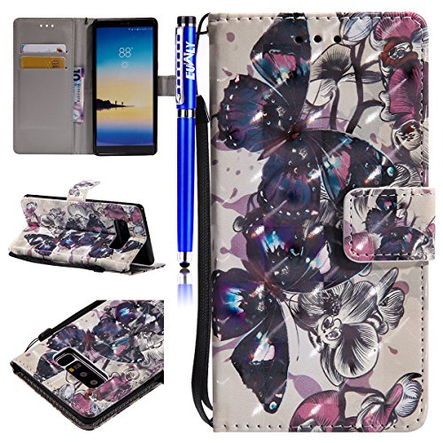 EUWLY Wallet Leather Case Cover for Samsung Galaxy Note 8,PU Leather Protective Sleeve with Hand Strip for Samsung Galaxy Note 8,Bookstyle Magnetic Closure Wallet Case with Stand Function Card Slot an Black Butterfly