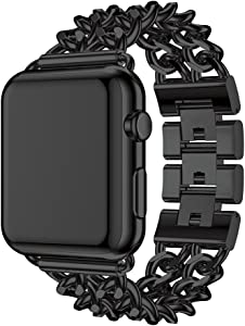 Seoaura Compatible Apple Watch Band 38mm 40mm, Stainless Steel Metal Cowboy Chain Style Replacement iWatch Series 6 5 4 3 2 1 SE Nike+ Sports Strap Wristband (Black, 38mm/40mm)