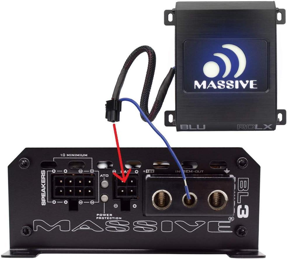 Car Audio 480 Watt Massive Audio BLX2 240w x 2 RMS Nano Blu 2 Channel Car Amplifier, Bluetooth Streaming Optional