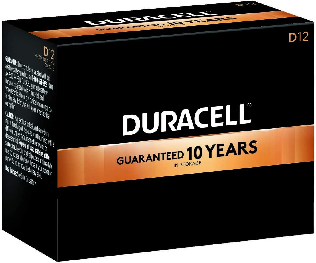 Duracell - CopperTop D Alkaline Batteries with recloseable package - long lasting, all-purpose D battery for household and business - Pack of 12: Home Audio & Theater