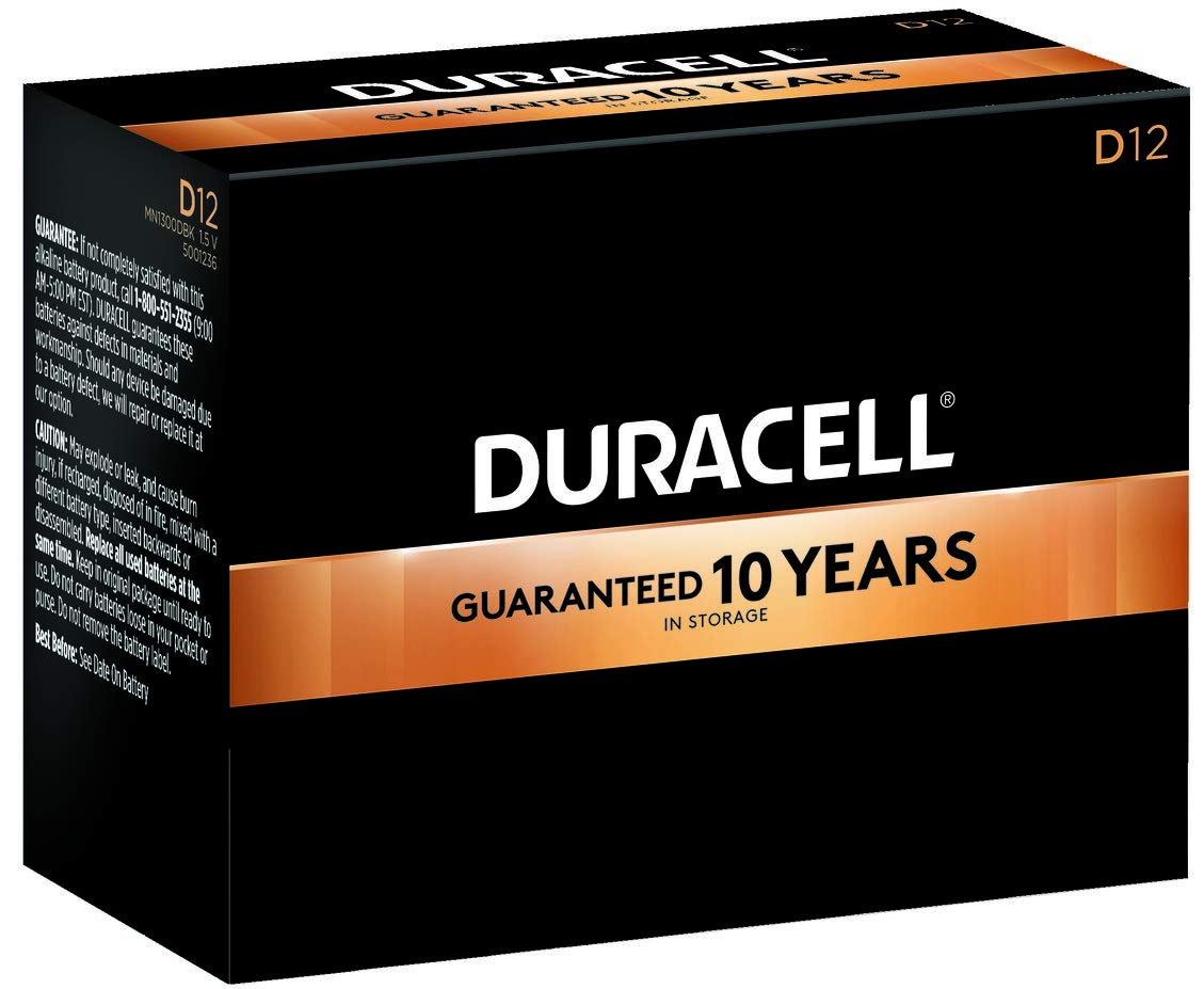 Duracell - CopperTop D Alkaline Batteries with recloseable package - long lasting, all-purpose D battery for household and business - Pack of 12