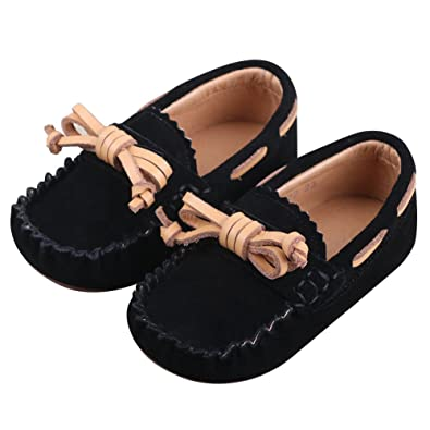 2a3cff269e3 Jamron Little Girls Boys Cute Bowknot Suede Loafer Slippers Toddler Soft  Handmade Moccasins SN03319 Black US5M