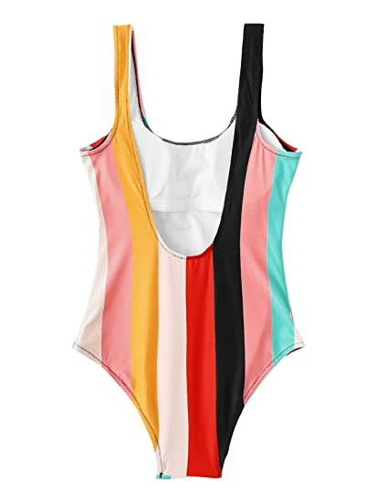 1e1ca1b23f SheIn Women's Rainbow Colorful Striped High Cut Low Backless One Piece  Swimsuits at Amazon Women's Clothing store: