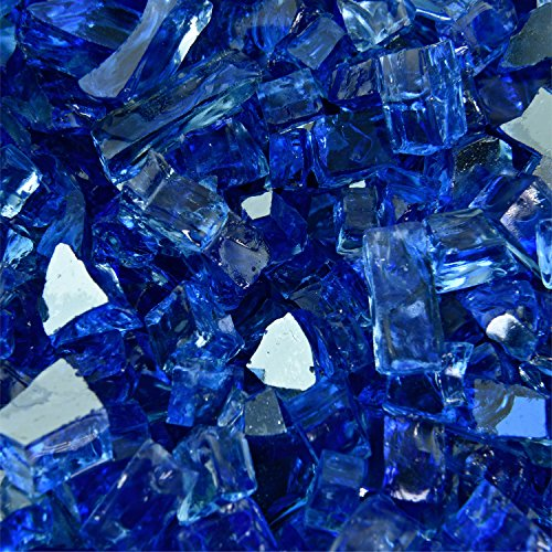 (Deep Sea Blue - Fire Glass for Indoor and Outdoor Fire Pits or Fireplaces | 10 Pounds | 1/4 Inch, Reflective )