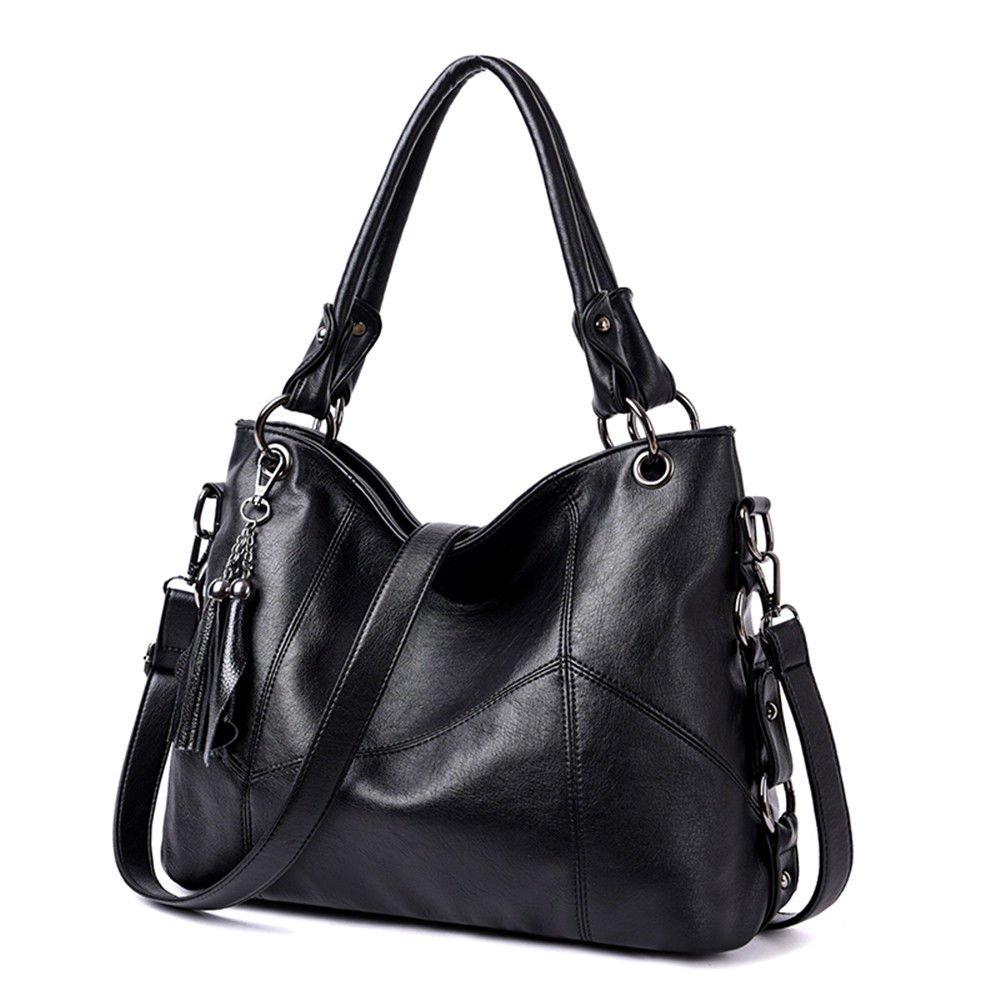 SJMMBB Leather Bag With One Shoulder Slung Shoulder Bag,Black