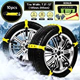 Mayper Tire Chains Snow Chains for Car/SUV/Trucks/ATV Anti-Skid Emergency Snow Tire Chains Adjustable Car Security Chain for Snow Ice Mud Width:185-295mm/7.2-11.6''
