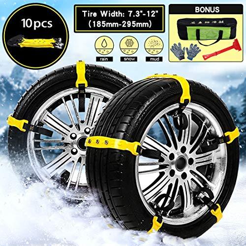 Mayper Tire Chains Snow Chains for Car/SUV/Trucks/ATV Anti-Skid Emergency Snow Tire Chains Adjustable Car Security Chain for Snow Ice Mud Width:185-295mm/7.2-11.6'' by Mayper (Image #1)