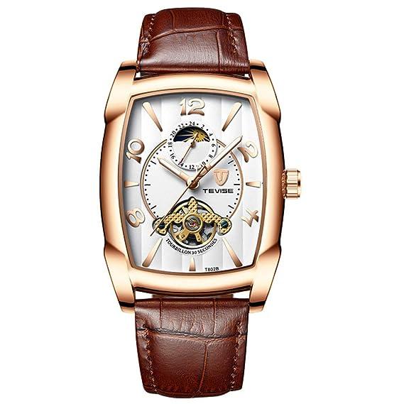 Reloj mecánico de los Hombres, Caja Rectangular Reloj del Negocio Luminoso-A: Amazon.es: Relojes