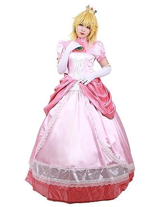 Amazon Com Miccostumes Women S Princess Peach Cosplay Costume Clothing