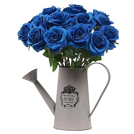 StarLifey 10 Cabezas Artificial Flores casa decoración de Boda Decoración DIY de flores ramo Azul: Amazon.es: Hogar