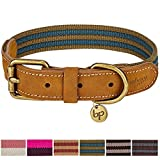 Leather Dog Collar - Blueberry Pet 6 Colors Polyester and Soft Genuine Leather Webbing Dog Collar in Navy and Olive, Medium, Neck 15