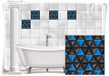 Fliesenaufkleber Fliesenbild Fliesen Aufkleber Mosaik Blau Kachel Bad WC  Küche Deko Kachel Badezimmer, 4 Stück