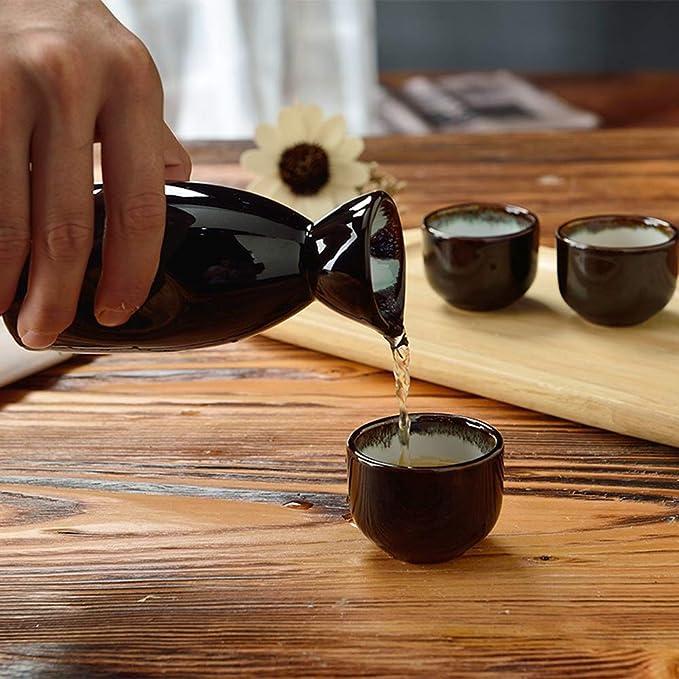 Redondo Botella de Sake de cer/ámica y 6 Tazas SBDLXY Juego de Sake cer/ámica Tradicional Japonesa 7 Piezas Ideal para Sake japon/és Juegos de Servir de Sake Negro Negro