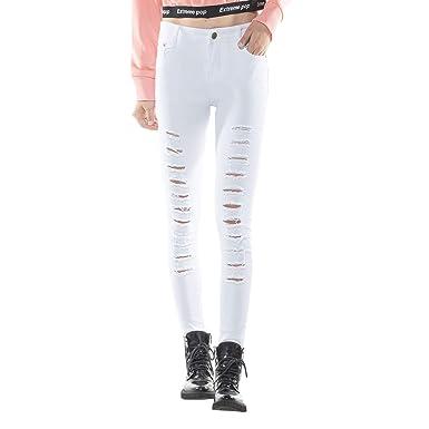 Extreme Pop Mujer Pantalones Vaqueros Blancos Dañados ...