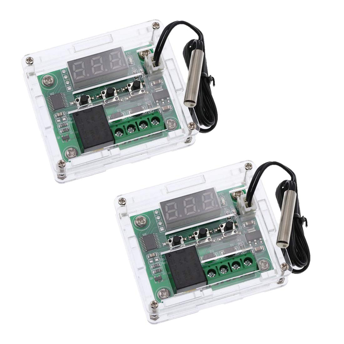 HiLetgo 2pcs W1209 with Case 12V DC Digital Temperature Controller Board Micro Digital Thermostat -50-110°C Electronic Temperature Temp Control Module Switch with 10A One-Channel Relay and Waterproof