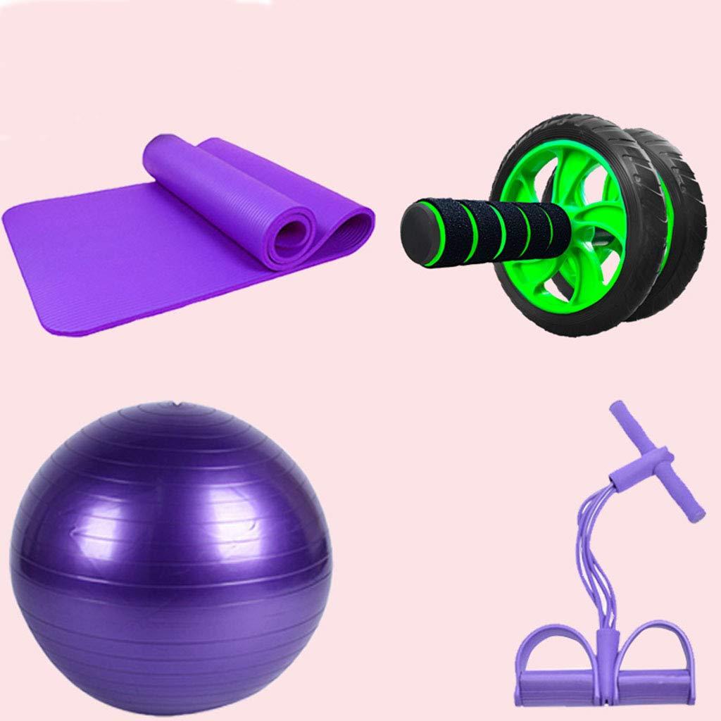 Zywtrade Yoga-Accessoires Frauen Prägten Fitness-Produkte Yoga-Matte + Yoga-Ball + Rallye (Vier-Röhren-Knöchel) + Bauchrad (Vier Teiliges Set)