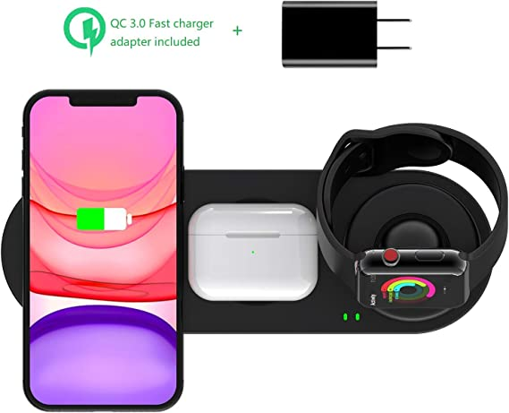 Kartice 3 in 1 Wireless Charger Compatible with Apple Watch Charger Series 5/4/3/2/1/ Airpods Pro Wireless Charger, Fast Charger Stand for iPhone ...
