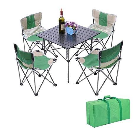 KXBYMX Mesa y Silla de Camping Mesa Plegable portátil con 4 sillas ...