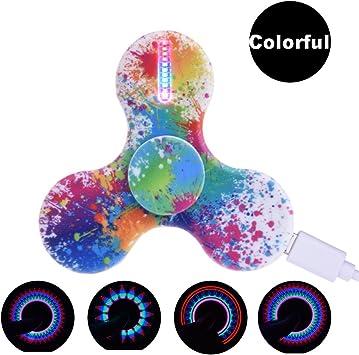 LeeHur Hand Spinner Fidget Spinner de Mano de USB Recargable con 15 efectos de luz para ADHD EDC, Tri Fidget Spinner, Juguete Reductor EDC Anti Ansiedad para Niños y Jóvenes Adulto, Multicolor:
