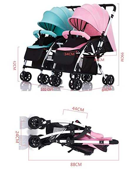 Amazon.com : Twin Baby Stroller Detachable Handle Reversible ...