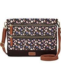Fossil Passport Crossbody-Black Floral
