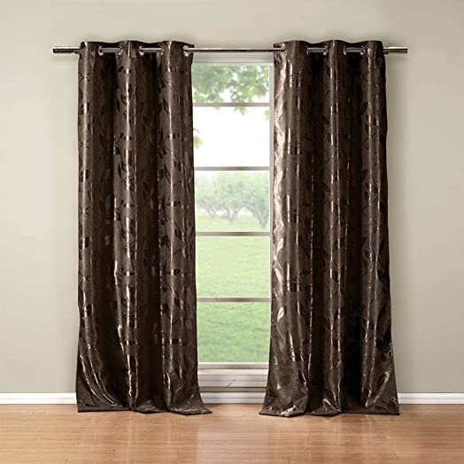 Duck River Textiles – Blair Metallic Floral Leaves Blackout Room Darkening Grommet Top Window Curtains Pair Panel Drapes for Bedroom, Living Room – Set of 2 Panels – 36 X 84 Inch – Brown