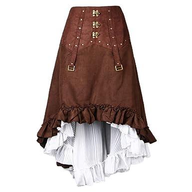 F Fityle Falda Asimétrica Steampunk Vestido Alto-bajo Alto Retro ...