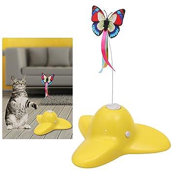 UEETEK Juguete interactivo del juguete del gato, juguete coloreado eléctrico de la mariposa para los