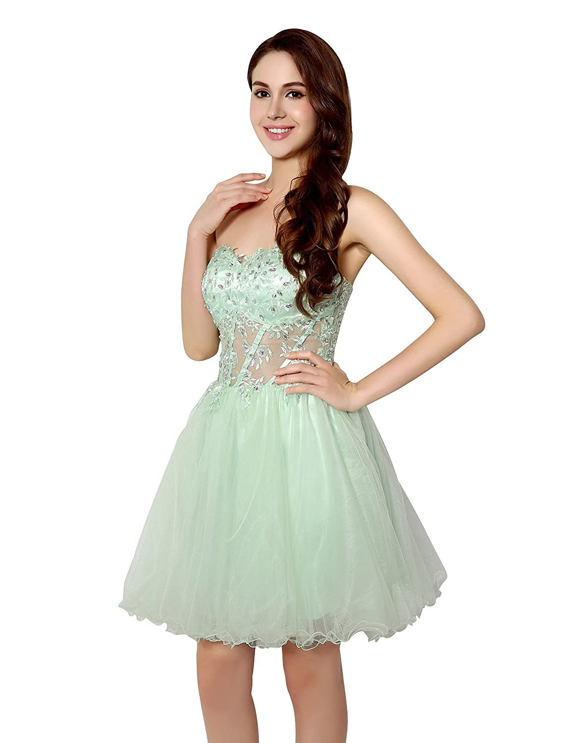 Sarahbridal Women's Sexy Short Homecoming Prom Dresses Strapless Crystals Party Gowns SSD227