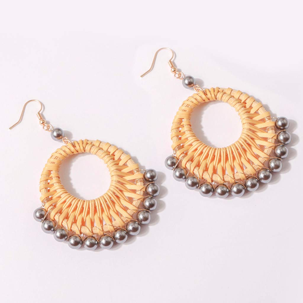 Peigen Rattan Earrings for Women Pearl Creative Earrings Hypoallergenic Bohemian Chandelier Geometric Wood Beads Girls Earrings.