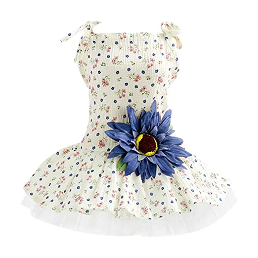 5c7a0902fe27 Amazon.com: Puppy Dog Dress, Thin Cute Floral Princess Ribbon Skirt for  Puppy T-Shirt Clothes Costume Jacket Top Blue: Clothing
