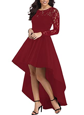 Betty-Boutique Womens Burgundy Long Sleeve Lace High Low Satin Prom Dress Size 14-