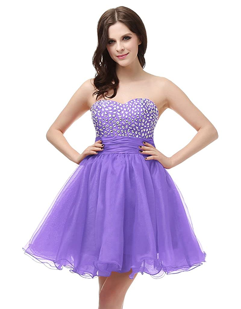 Lavender Vantexi Women's Strapless Short Prom Homecoming Dress Party Gown