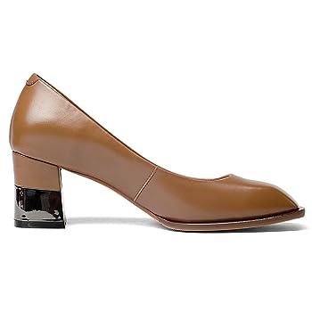 Genuine Leather Women's Square Toe Chunky Heel Work Classic Handmade High Heels Dress Pumps