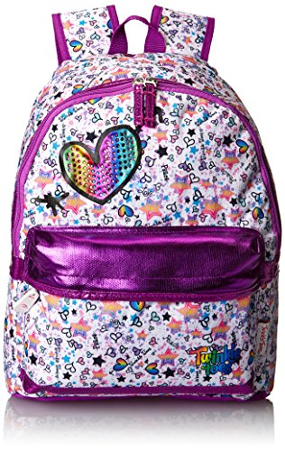 Skechers Big Girls'  Rainbow Foil Backpack, White Multi, One (Twinkle Toes Clothes)