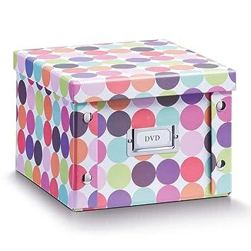 Zeller 17891 Caja de almacenaje de cartón Multicolor (Dots) 21.5 x 20.5 x 15 cm: Amazon.es: Hogar
