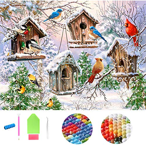 Fundaful Art 5D DIY Full Square Drills Diamond Painting Kits by Number Snow Birds Landscape Picture for Adults Kids Rhinestone Embroidery Cross Stitch Mosaic Beads 30x50cm