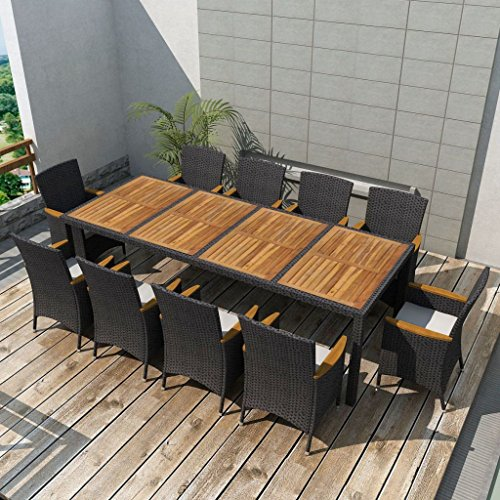 Festnight 11 Piece Outdoor Wicker Patio Garden Dining Set, Poly Rattan Furniture Black 11 Piece Furniture