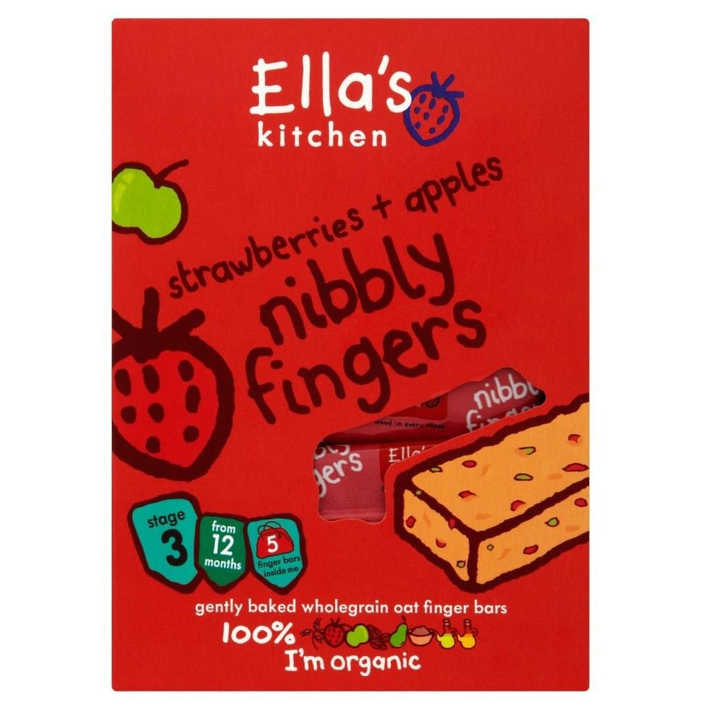 Ella's Kitchen Organic Strawberries and Apples Nibbly Fingers 12mth+ (5x25g) - Pack of 2 Grocery