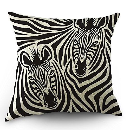 Moslion Zebra Pillows Decorative Throw Pillow Cover Case Safari African Animal Stripes Zebras Pillow Case 18 x 18 Inch Cotton Linen Square Cushion Cover for Sofa Bed Black White