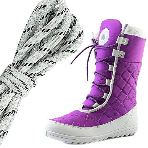 Dailyshoes Confort Des Femmes Bout Rond Mi-mollet Cheville Plat Haute Eskimo Fourrure Dhiver Bottes De Neige, Gris Noir Violet