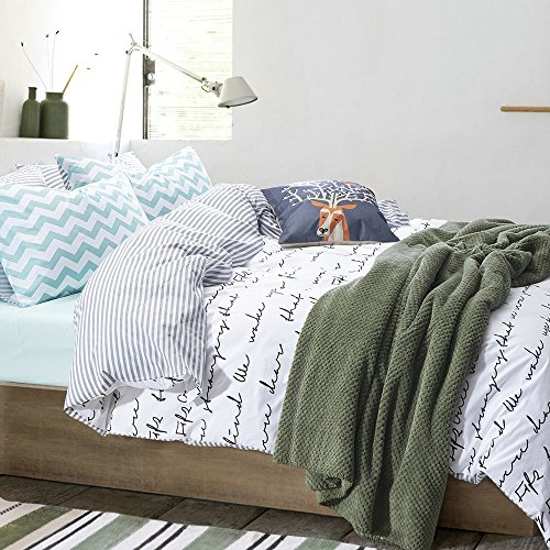 Vougemarket 3 Pieces Duvet Cover and Pillow Shams Bedding Set,love letter printed pattern,Soft,Breathable & Comfortable-King,White - Printed Bedding