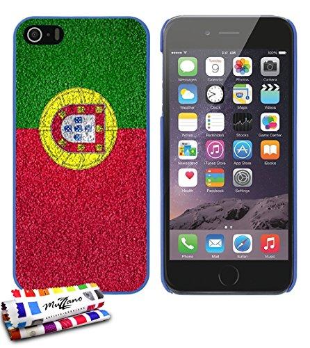Ultraflache weiche Schutzhülle APPLE IPHONE 5S / IPHONE SE [Portugal Flagge ] [Blau] von MUZZANO + STIFT und MICROFASERTUCH MUZZANO® GRATIS - Das ULTIMATIVE, ELEGANTE UND LANGLEBIGE Schutz-Case für Ih