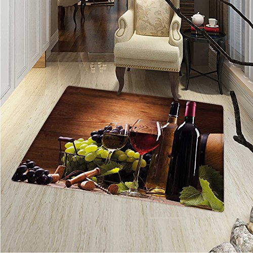 Wine Dining Room Home Bedroom Carpet Floor Mat Glasses Red White Wine Served Grapes French Gourmet Tasting Non Slip Rug 5'x6' Brown Ruby Pale Green - Toscana Wine French