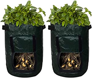 Leatan Potato Planter Bags - Garden Tub for Vegetable Growing with Flap Access - 2 Pack (10 Gallons)