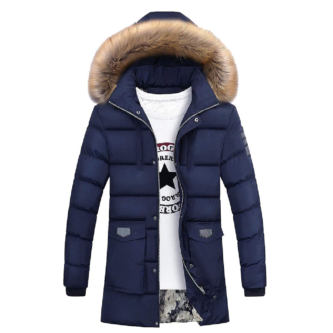 YUNY Mens Mid Long Hooded with Faux Trimmed Hood Thicken Parkas Long Coats Dark Blue XL